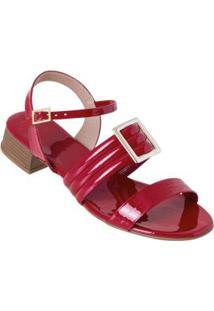 Sandália Vermelha Com Detalhe De Fivela
