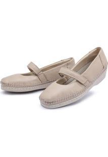 Sapato Conforto Couro Top Franca Shoes Feminino - Feminino-Bege