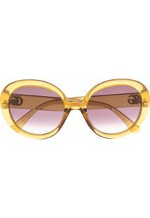 Gucci Eyewear Óculos De Sol Oversized - Amarelo
