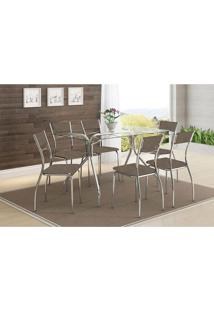 Mesa 387 Com Vidro Incolor Cromada Com 6 Cadeiras 1701 Camurça Conhaque Carraro