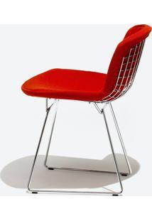 Cadeira Bertoia Revestida - Inox Linho Impermeabilizado Vermelho - Wk-Ast-04