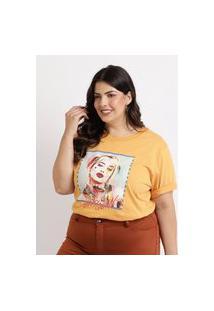 Blusa Feminina Plus Size Arlequina Manga Curta Decote Redondo Amarela