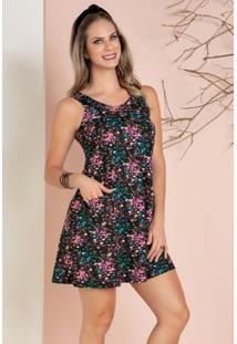 Vestido Com Bolsos Floral Dark