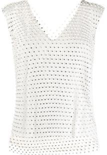 Pinko Blusa De Tela Com Aplicação De Strass - Branco
