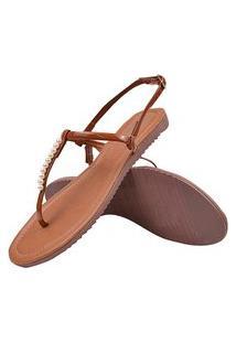 Sandália Rasteirinha Feminina Fio Perolas Latikas Shoes Caramelo