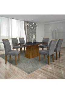 Conjunto De Mesa Com 6 Cadeiras Pampulha Ii Linho Canela E Cinza