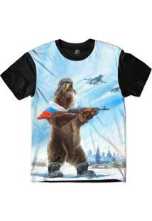 Camiseta Bsc Urso Louco Kalashnikova Ak47 Sublimada Preto/Azul