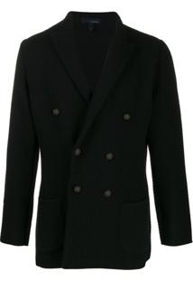 Lardini Zigzag Pattern Knitted Blazer - Preto