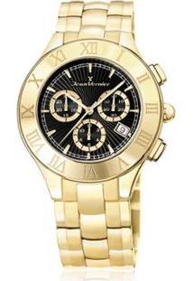 Relógio Jean Vernier 5Atm Feminino - Feminino-Dourado+Preto