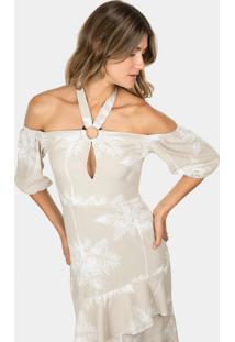 Vestido Mídi Em Linho Estampa Caletilha - Lez A Lez