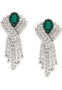 Alessandra Rich Embellished Clip-On Earrings - Metálico