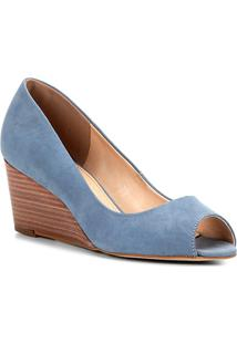 Peep Toe Couro Shoestock Anabela Básico Fachete - Feminino-Azul