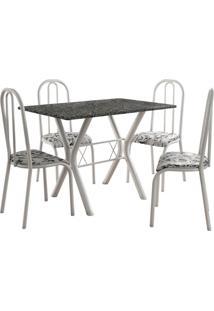 Conjunto De Mesa Miami 4 Cadeiras Branco/Branco Floral Fabone