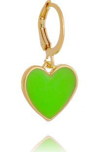 Pingente Coração Esmaltado Verde Neon Lua Mia Joias - Semijoia Folheada A Ouro 18K