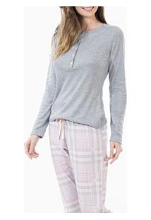 Pijama Longo Com Peitilho Abotoável Laibel (15.011477) Mescla