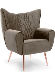Poltrona Decorativa Fixa Pã©S Palito Metalizado Kora Tress㪠Veludo B-261 - Lyam Decor - Marrom - Dafiti