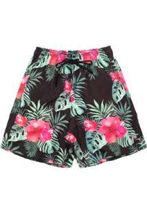 Shorts Summer Flower Aleatory Masculino - Masculino-Preto