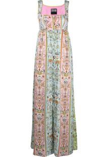 Versace Jeans Couture Vestido Longo Com Estampa Tuileries - Azul