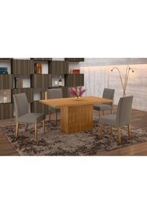 Conjunto De Mesa De Jantar Com 6 Cadeiras E Tampo De Madeira Maciça Arezo Iii Suede Imbuia Rustic E Cinza