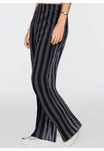 Calça Pantalona Listrada Preta