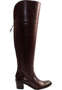 Bota Over The Knee Capodarte Couro Atanado Work 4011523 - Feminino-Marrom