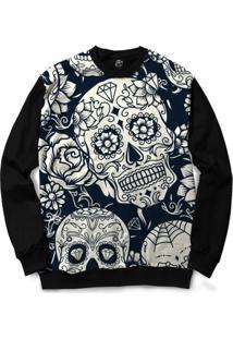 Blusa Bsc Mexican Skull Roses White Full Print - Masculino-Preto