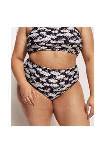 Biquíni Calcinha Plus Size Ostra Brasil Hot Pant Estampado Floral Com Proteção Uv50+ Preto
