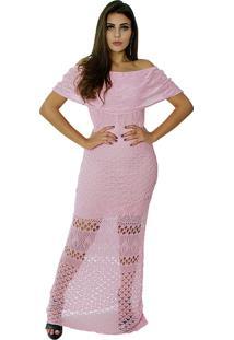 Vestido Longo Vitória Lótus Tricot Modelo Cigana Com Pala Rosa