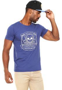 Camiseta Fiveblu Manga Curta Skull Azul