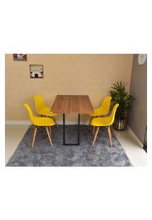 Conjunto De Mesa Dobrável Retrátil 120 X 75 Noronha + 4 Cadeiras Eiffel - Amarela