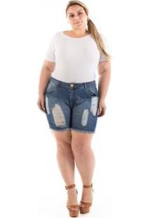 Shorts Confidencial Extra Jeans Destroyed Plus Size Feminino - Feminino-Azul