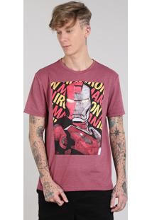Camiseta Masculina Homem De Ferro Manga Curta Gola Careca Vinho