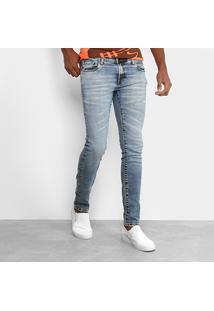 Calça Jeans Skinny Opera Rock Estonada Clara Masculina - Masculino-Azul Claro