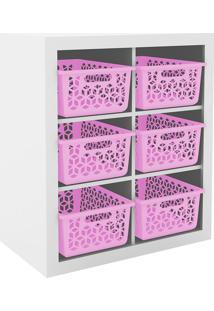 Estante Organizadora Com 6 Cestos - Tecno Mobili - Branco / Rosa