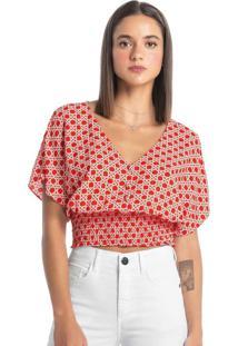 Blusa Vermelha Cropped Geométrica