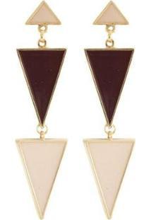 Brinco Armazem Rr Bijoux Geometrico - Feminino-Dourado