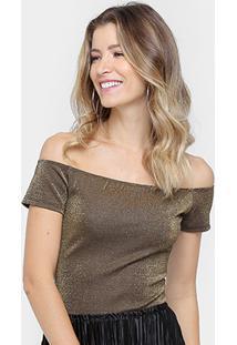 Body Colcci Ombro A Ombro Lurex - Feminino-Dourado