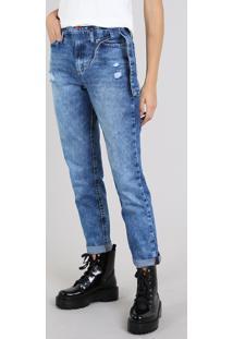 Calça Jeans Feminina Mom Com Faixa Para Amarrar Azul Médio
