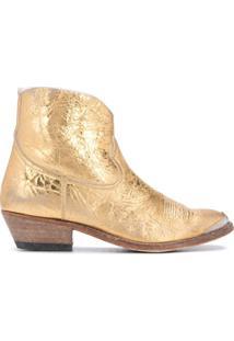Golden Goose Bota Cowboy Metálica - Dourado