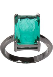 Anel Retangular The Ring Boutique Pedra Cristal Turmalina Fusion Ródio Negro