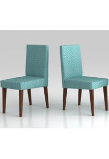 Cadeira De Jantar 2 Unidades Madeira Maciça Geométrico Turquesa Mobili