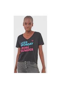 Camiseta Guess Less Monday More Summer Preta