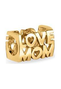 Pingente Life Love Mom Com Banho Ouro Amarelo