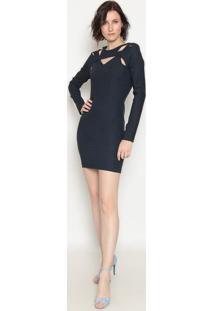 Vestido Com Recortes - Azul- Operateoperate