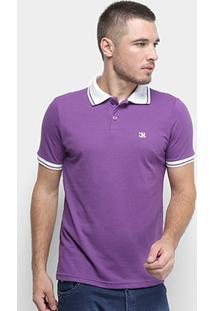 Camisa Polo Derek Ho Friso Logo Dkho Masculina - Masculino-Roxo
