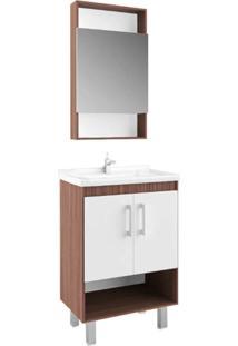 Gabinete Compacto Para Banheiro Com Nicho Branco E Palermo