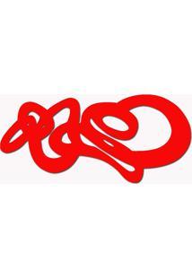 Escultura De Madeira Mdf Laminado Vermelho Para Parede 100X50 Cm