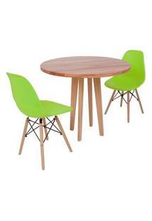 Conjunto Mesa De Jantar Em Madeira 90Cm Com Base Vértice + 2 Cadeiras Eiffel - Verde