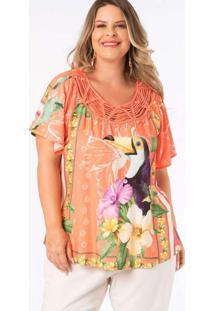 Blusa Almaria Plus Size Munny Estampada Detalhe Gu