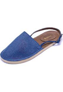 Alpargatas Teodoras Abertas Em Tecido Aa1918 Azul Jeans